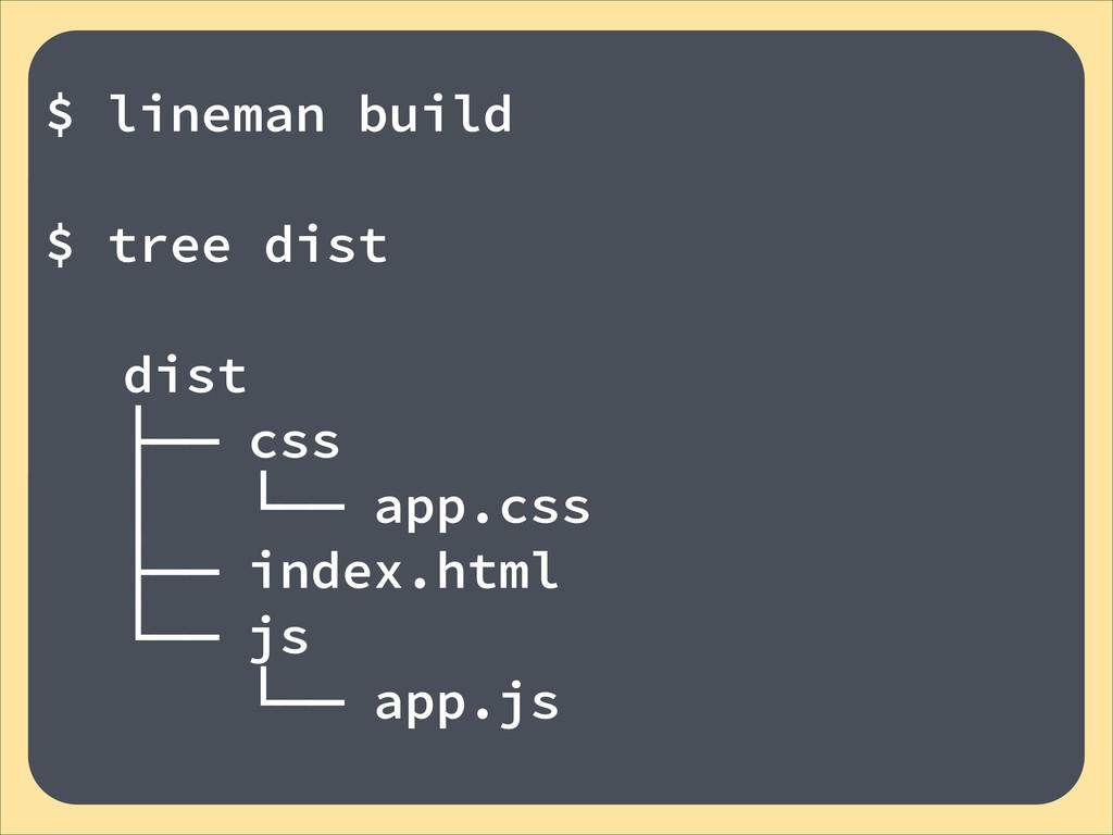 ! $ lineman build ! $ tree dist ! dist ├── css ...