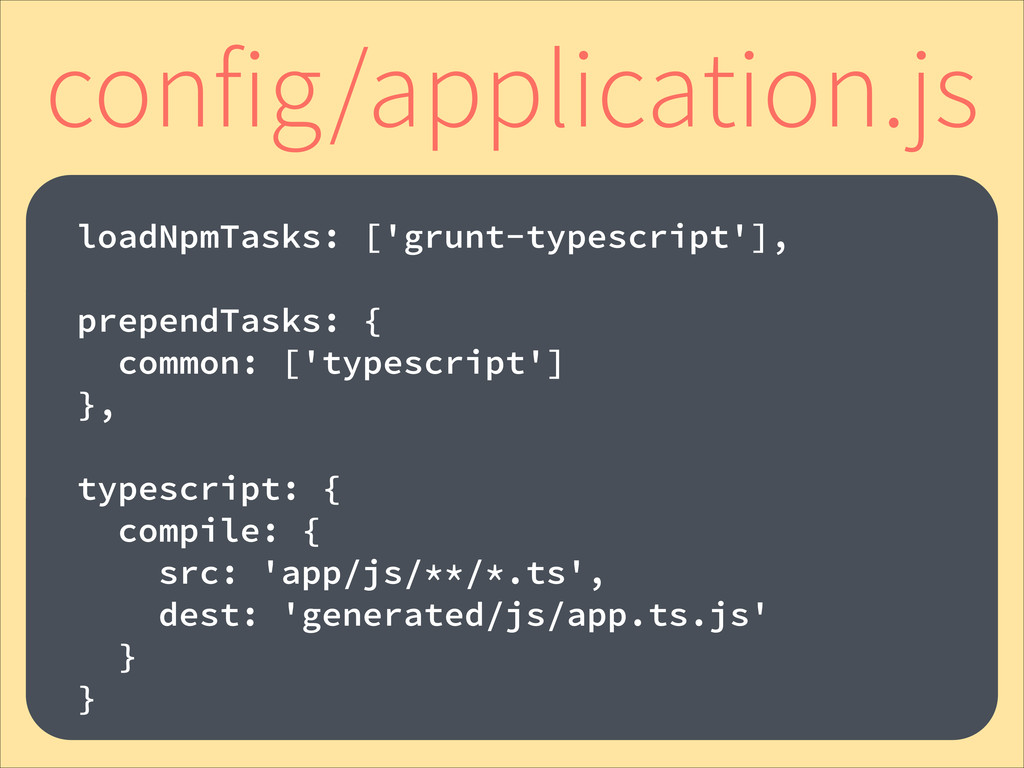 ! loadNpmTasks: ['grunt-typescript'], ! prepend...