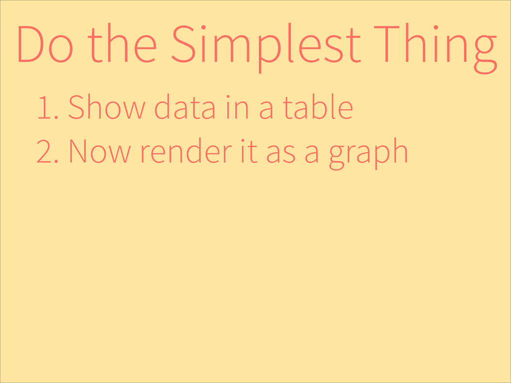 Do the Simplest Thing 1. Show data in a table 2...