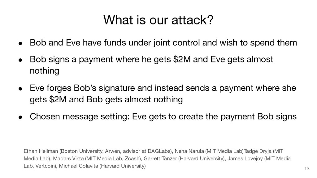 What is our attack? ● Bob and Eve have funds ...