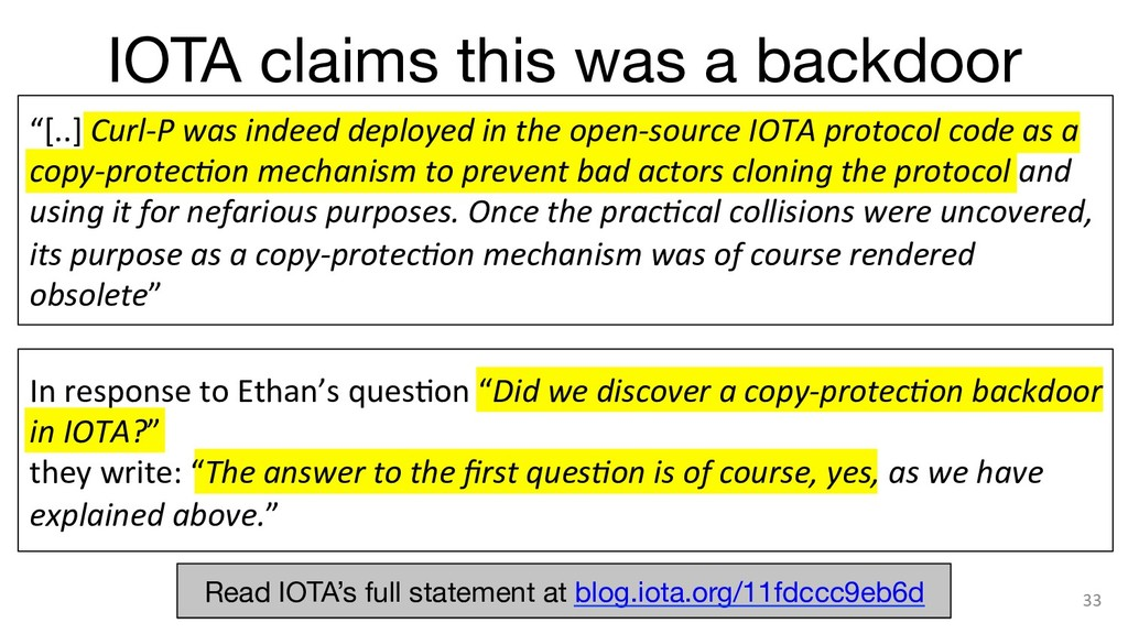 """IOTA claims this was a backdoor 33 """"[..] Curl-..."""