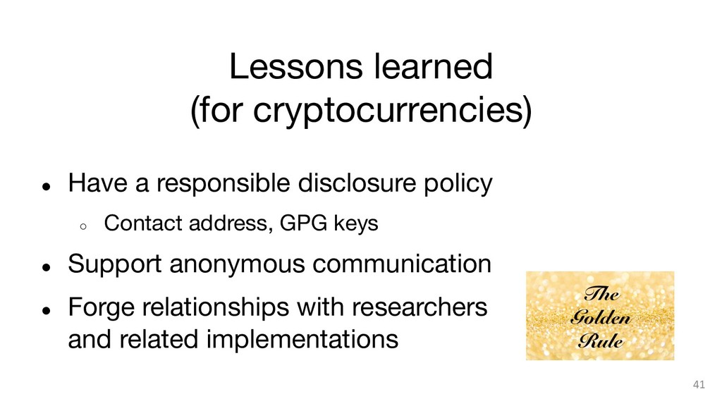 Lessons learned (for cryptocurrencies) ● Hav...