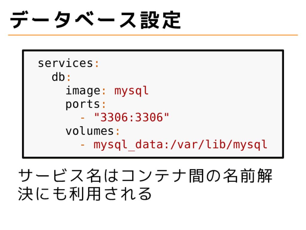 """データベース設定 services: db: image: mysql ports: - """"3..."""