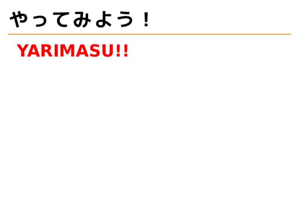 やってみよう! YARIMASU!!