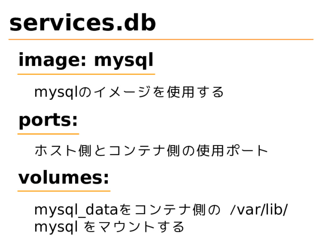 services.db image: mysql mysqlのイメージを使用する ports:...