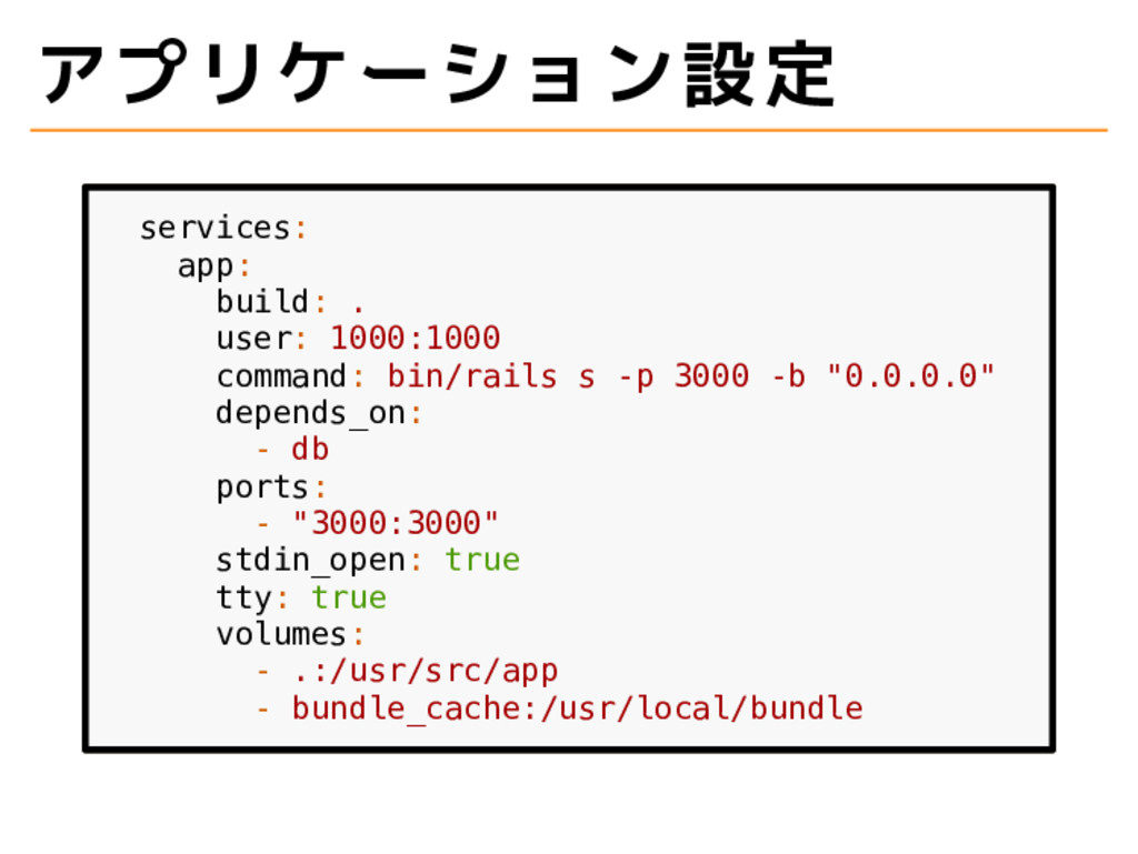 アプリケーション設定 services: app: build: . user: 1000:1...