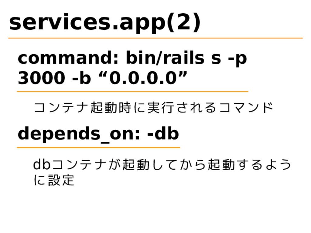 services.app(2) command: bin/rails s -p 3000 -b...
