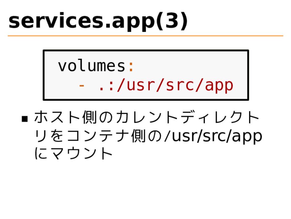 services.app(3) volumes: - .:/usr/src/app ホスト側の...