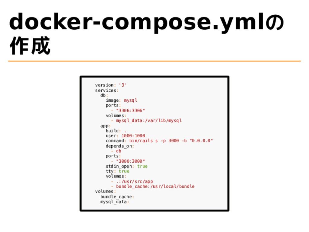 docker-compose.ymlの 作成 version: '3' services: d...