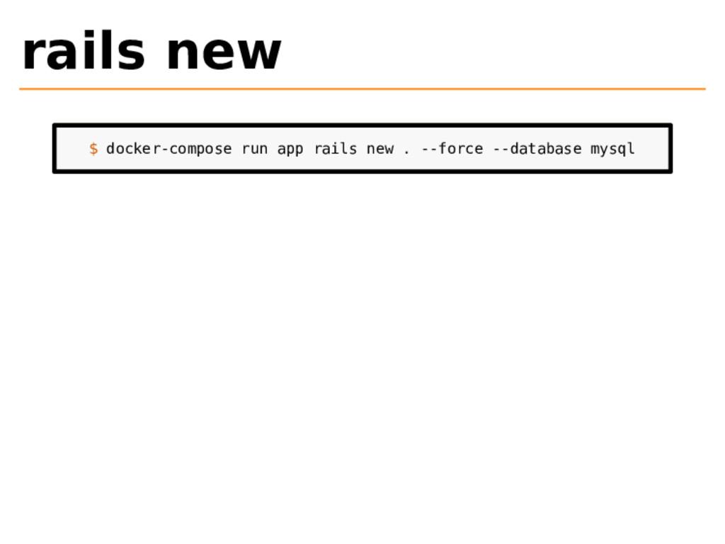 rails new $ docker-compose run app rails new . ...