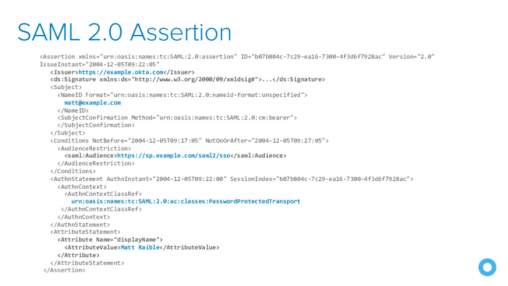 "SAML 2.0 Assertion <Assertion xmlns=""urn:oasis:..."