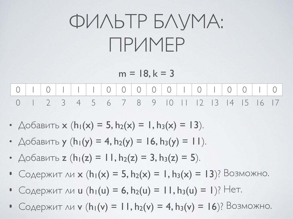 ФИЛЬТР БЛУМА :  ПРИМЕР • Добавить x (h1(x) = 5,...
