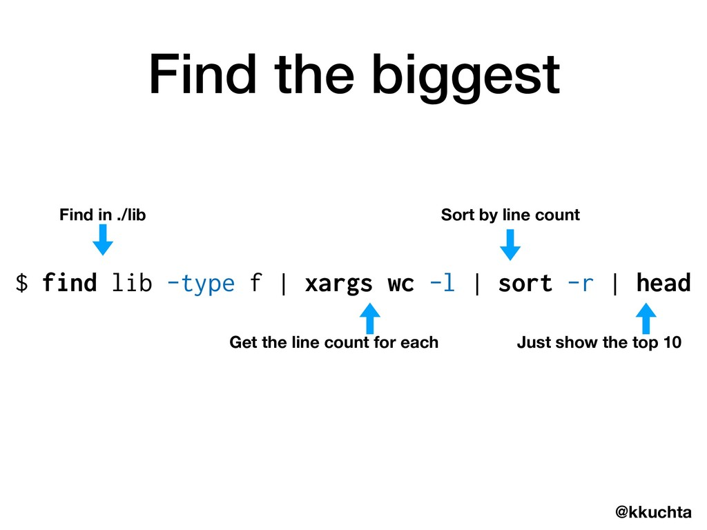 @kkuchta Find the biggest $ find lib -type f | ...