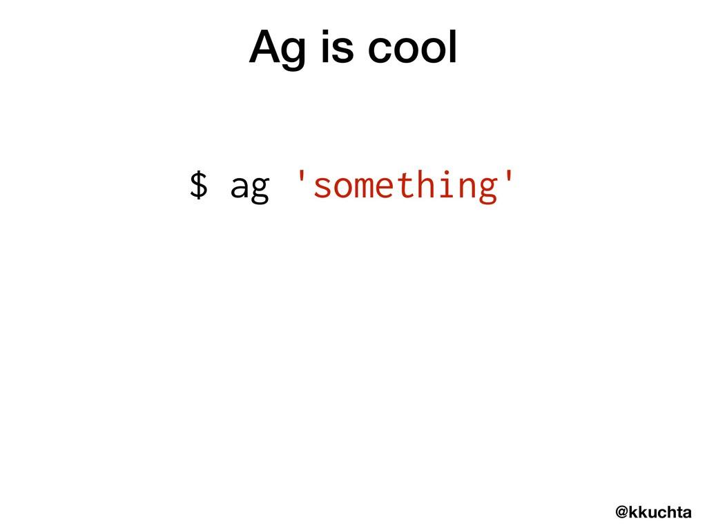 @kkuchta Ag is cool $ ag 'something'