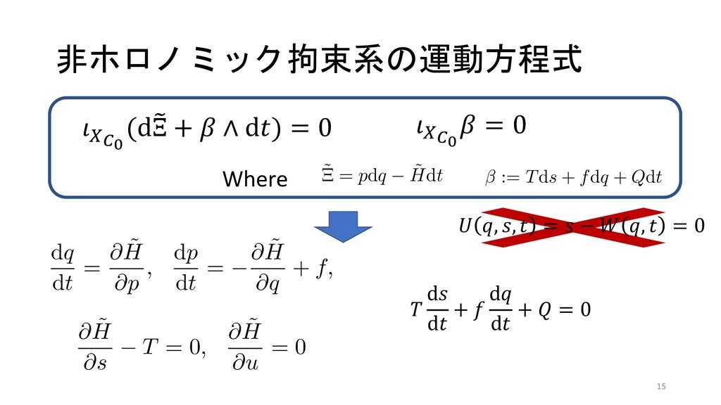非ホロノミック拘束系の運動方程式 dp ∧ dq − (d ˜ H − β) ∧ dt = d...