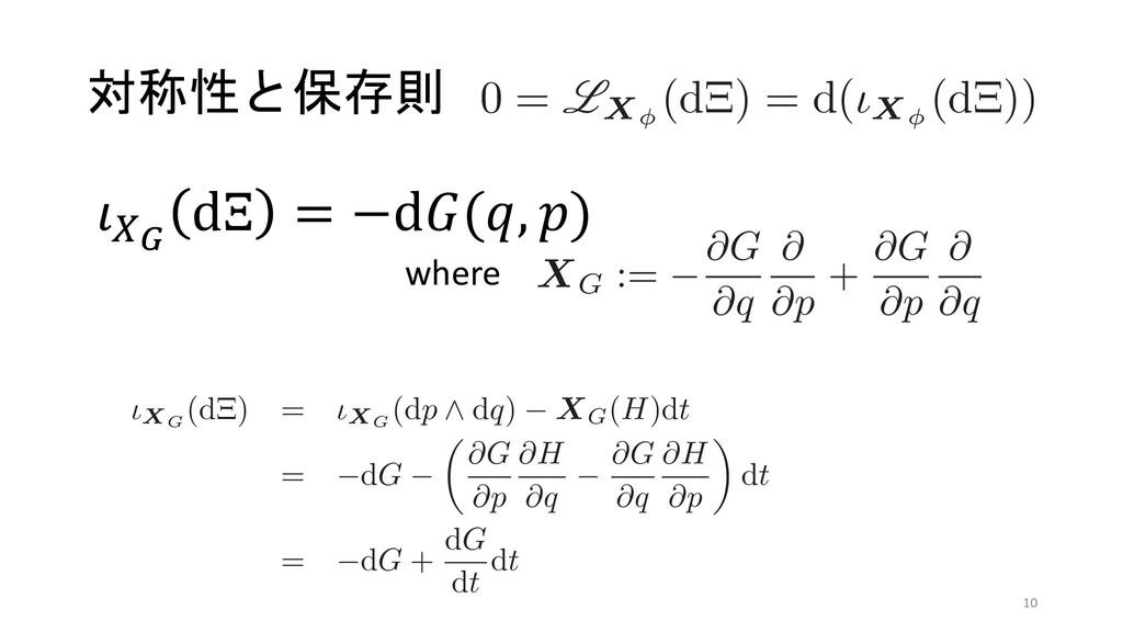 対称性と保存則 ʹର͠ɼ 0 = LXφ (dΞ) = d(ιXφ (dΞ ͱͳΕɼܥ࿈ଓ...