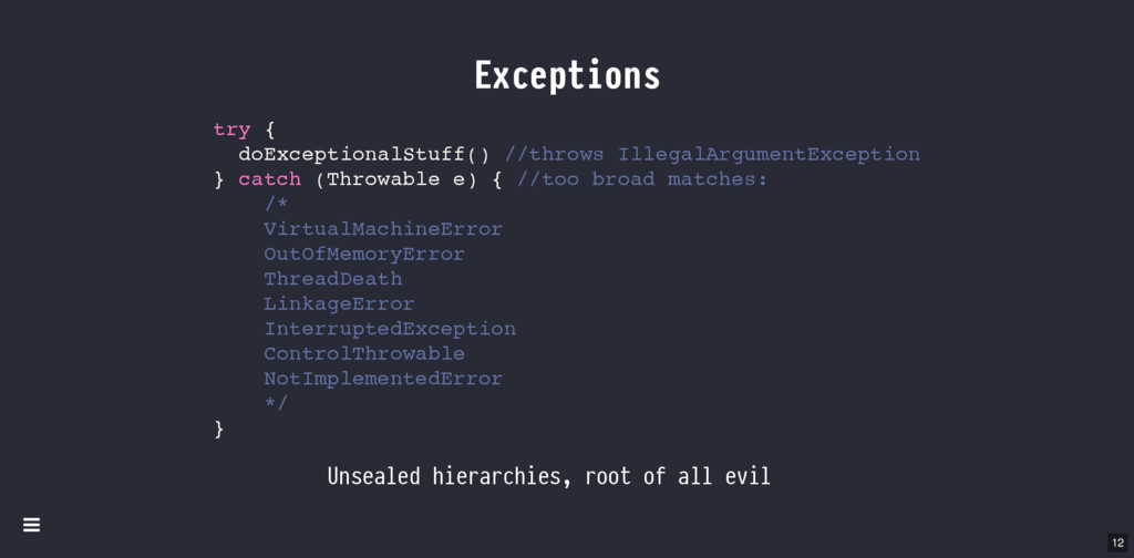 Exceptions Unsealed hierarchies, root of all ev...