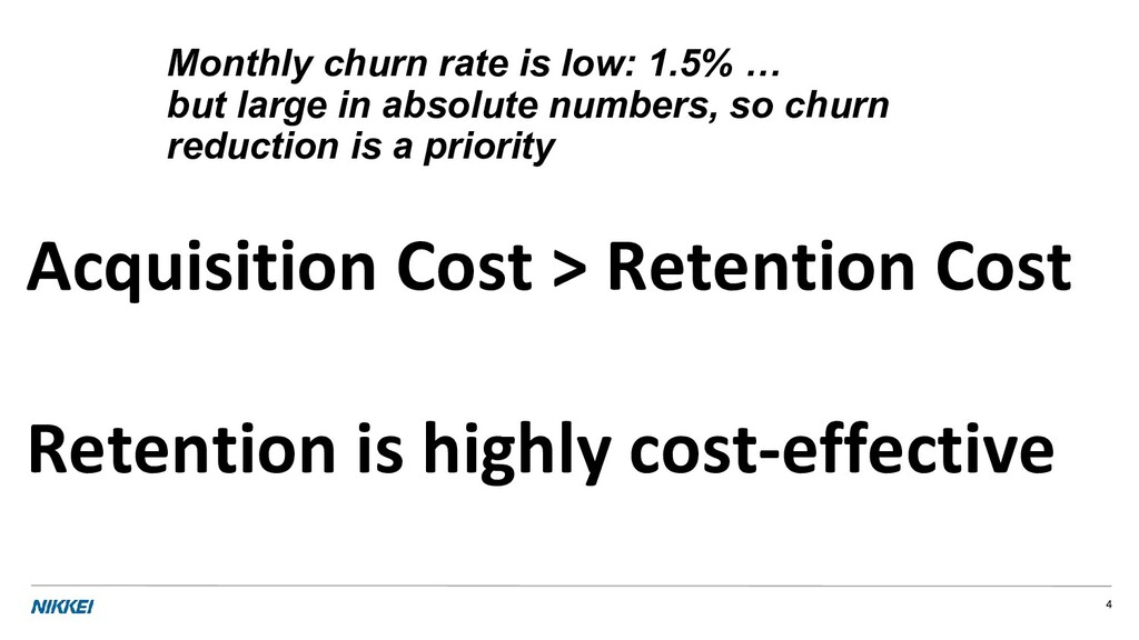 Monthly churn rate is low: 1.5% … but large in ...