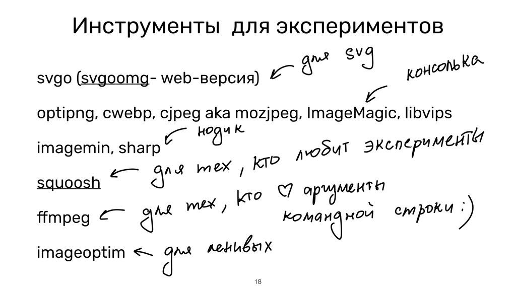 Инструменты для экспериментов svgo (svgoomg- we...