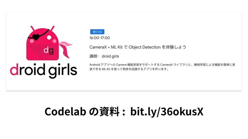 Codelab の資料 : bit.ly/36okusX