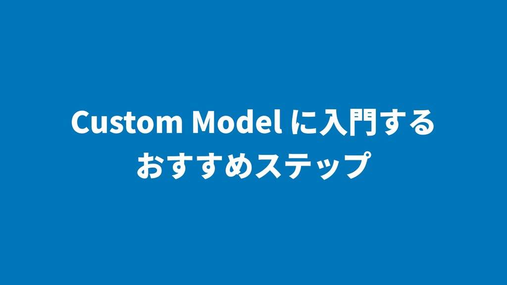 Custom Model に⼊⾨する おすすめステップ
