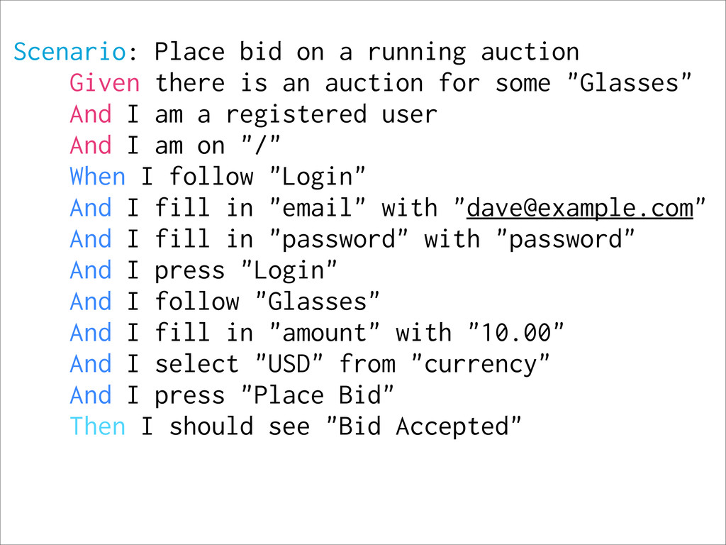 Scenario: Place bid on a running auction Given ...