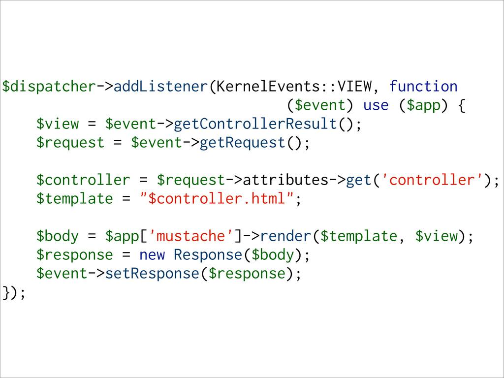 $dispatcher->addListener(KernelEvents::VIEW, fu...