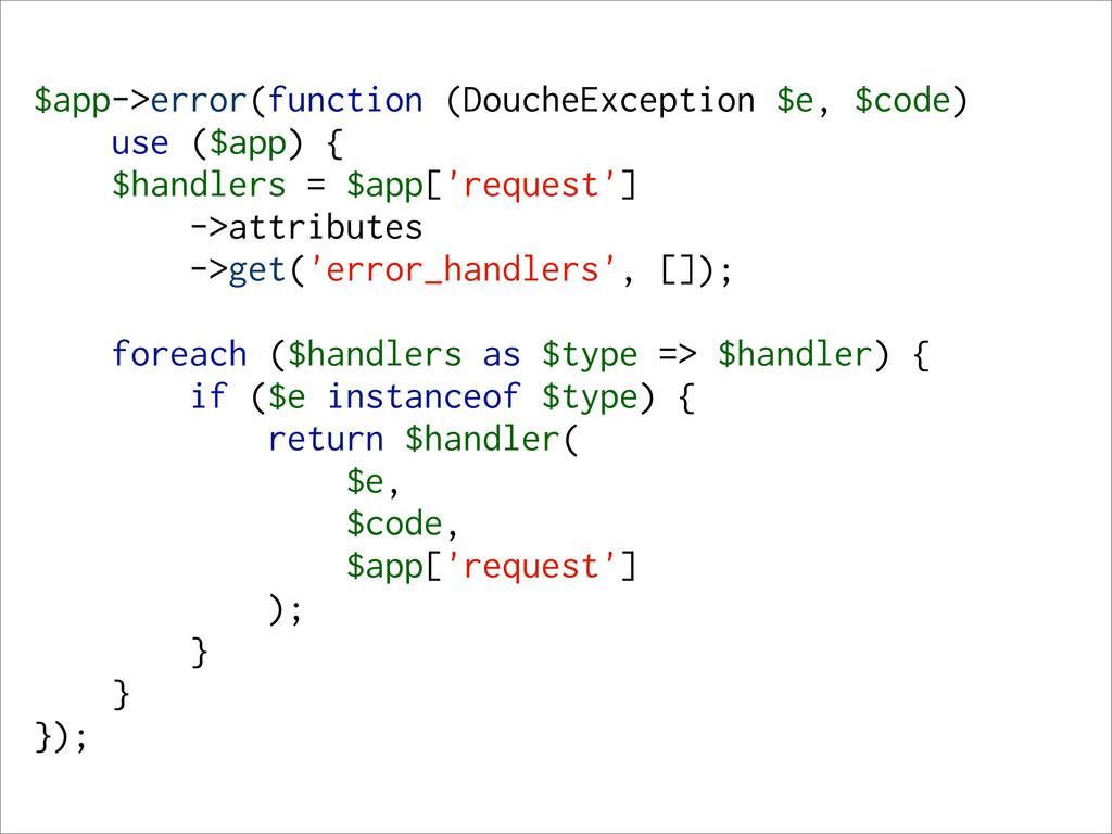 $app->error(function (DoucheException $e, $code...