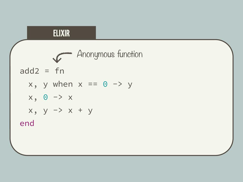 add2 = fn x, y when x == 0 -> y x, 0 -> x x, y ...