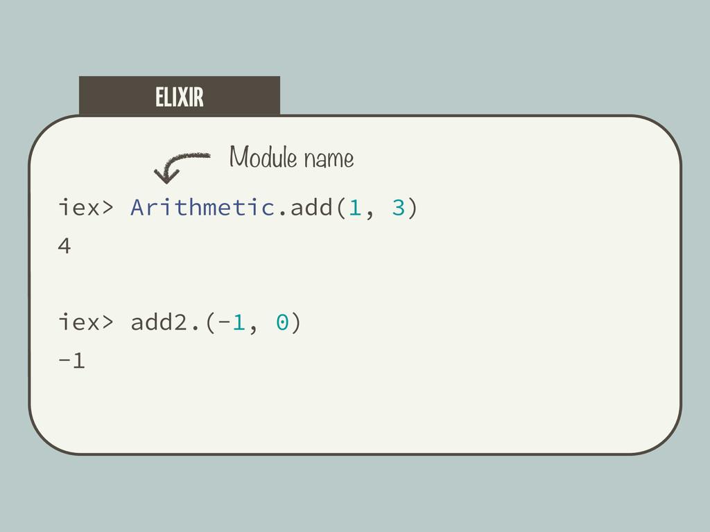 iex> Arithmetic.add(1, 3) 4 iex> add2.(-1, 0) -...