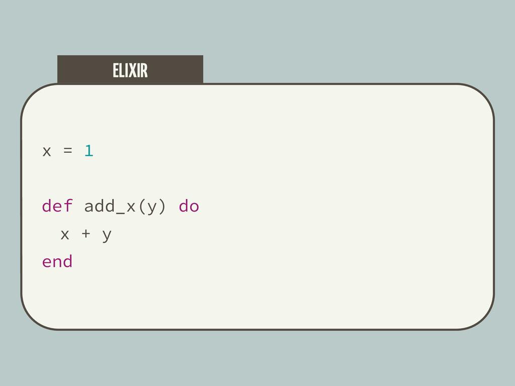 x = 1 def add_x(y) do x + y end ELIXIR