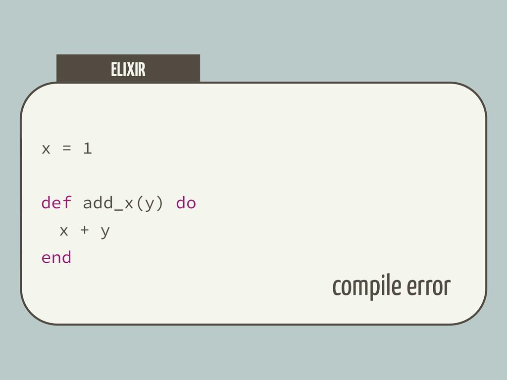 x = 1 def add_x(y) do x + y end ELIXIR compile ...