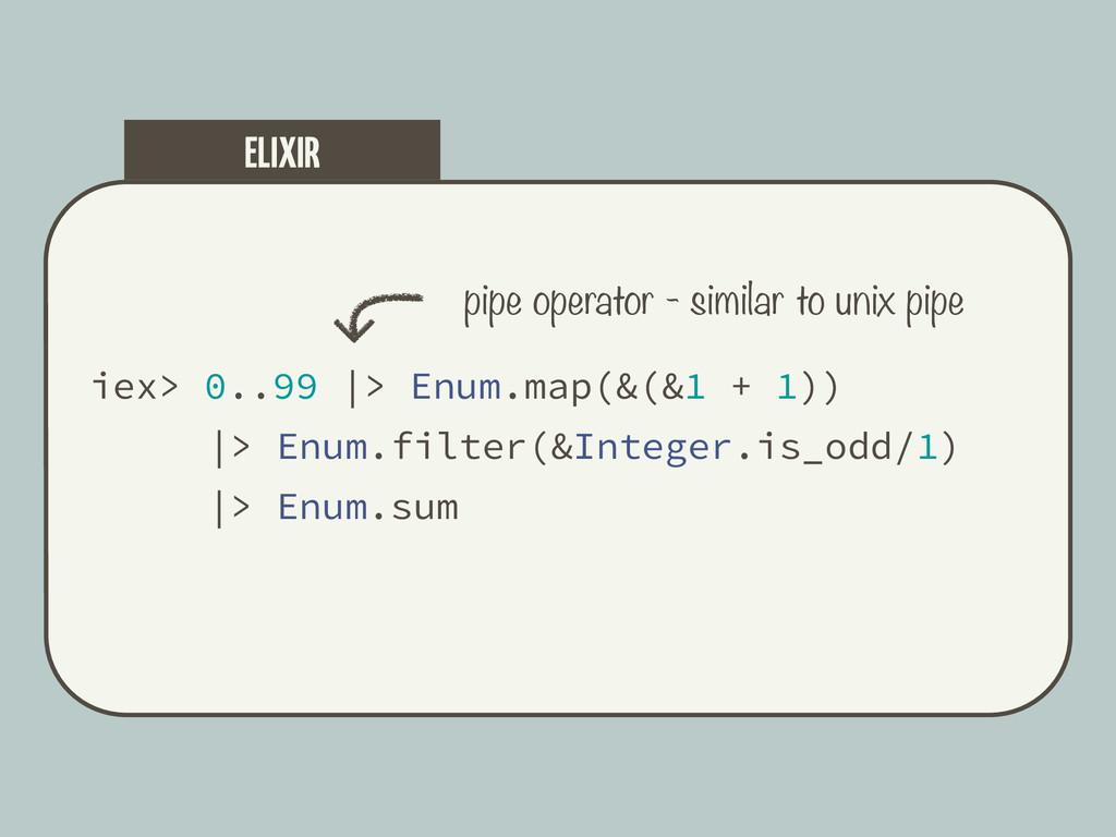 iex> 0..99  > Enum.map(&(&1 + 1))  > Enum.filte...
