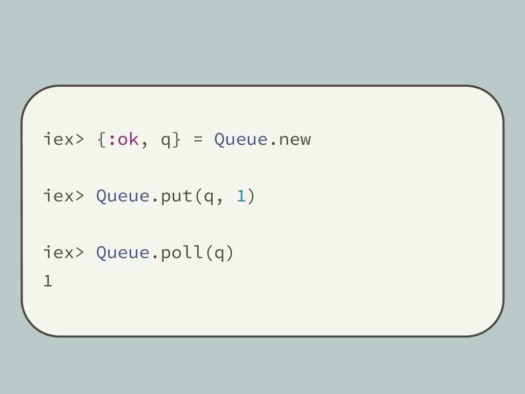 iex> {:ok, q} = Queue.new iex> Queue.put(q, 1) ...