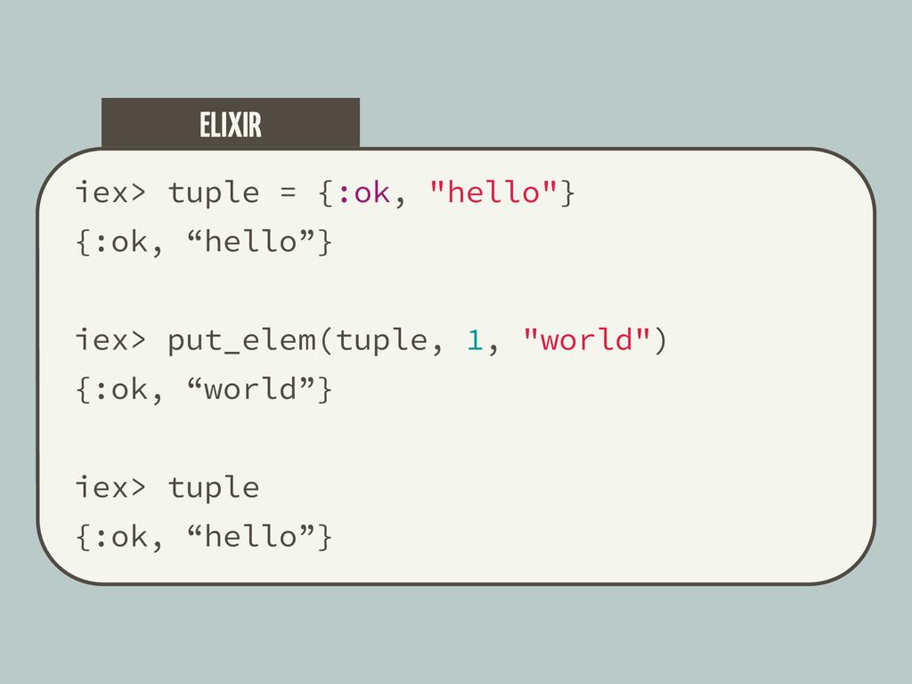 """iex> tuple = {:ok, """"hello""""} {:ok, """"hello""""} iex>..."""