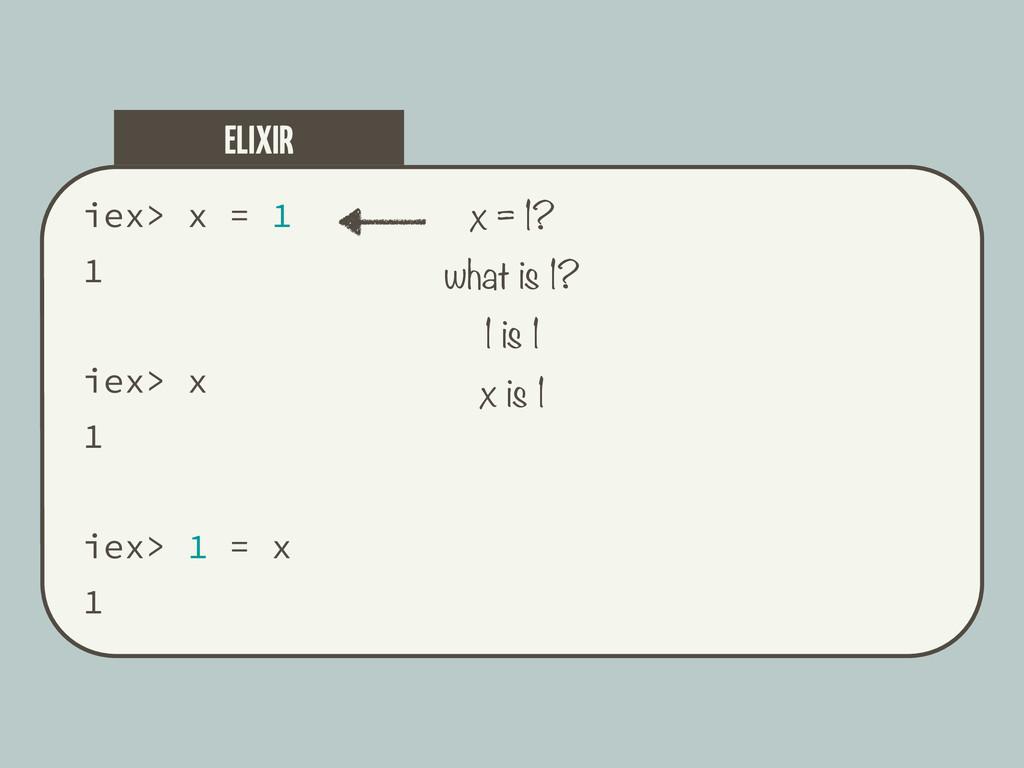 iex> x = 1 1 iex> x 1 iex> 1 = x 1 ELIXIR x = 1...