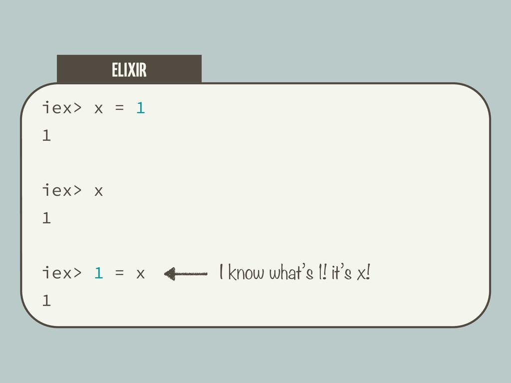 iex> x = 1 1 iex> x 1 iex> 1 = x 1 ELIXIR I kno...