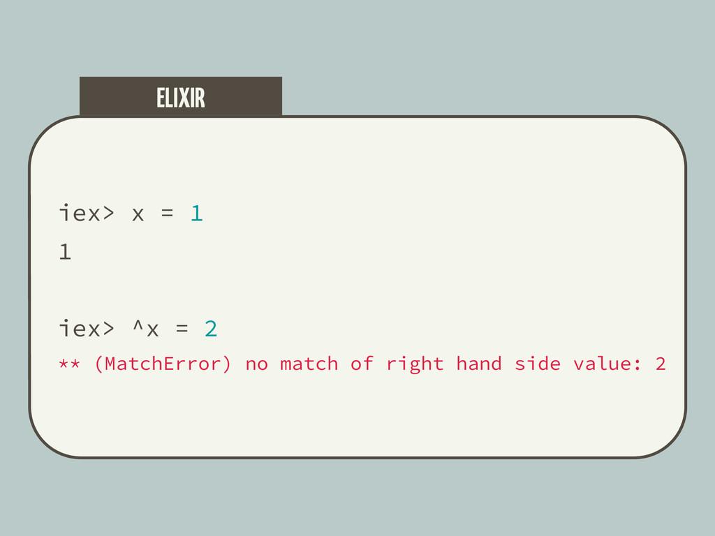 iex> x = 1 1 iex> ^x = 2 ** (MatchError) no mat...