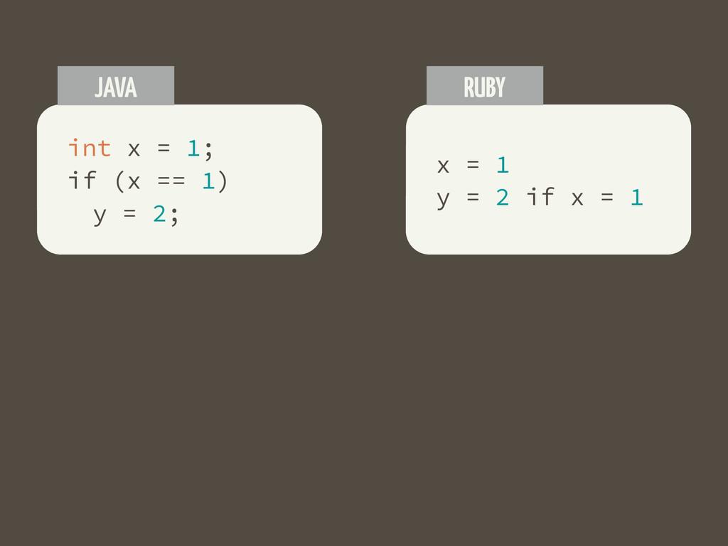 int x = 1; if (x == 1) y = 2; JAVA x = 1 y = 2 ...