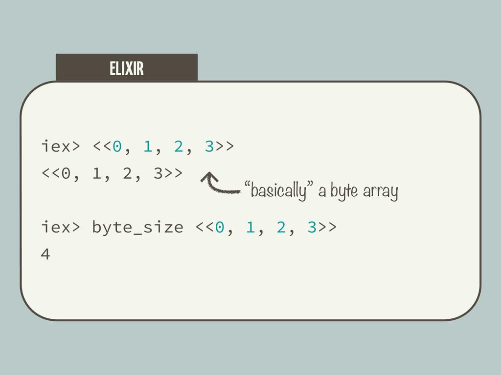 iex> <<0, 1, 2, 3>> <<0, 1, 2, 3>> iex> byte_si...