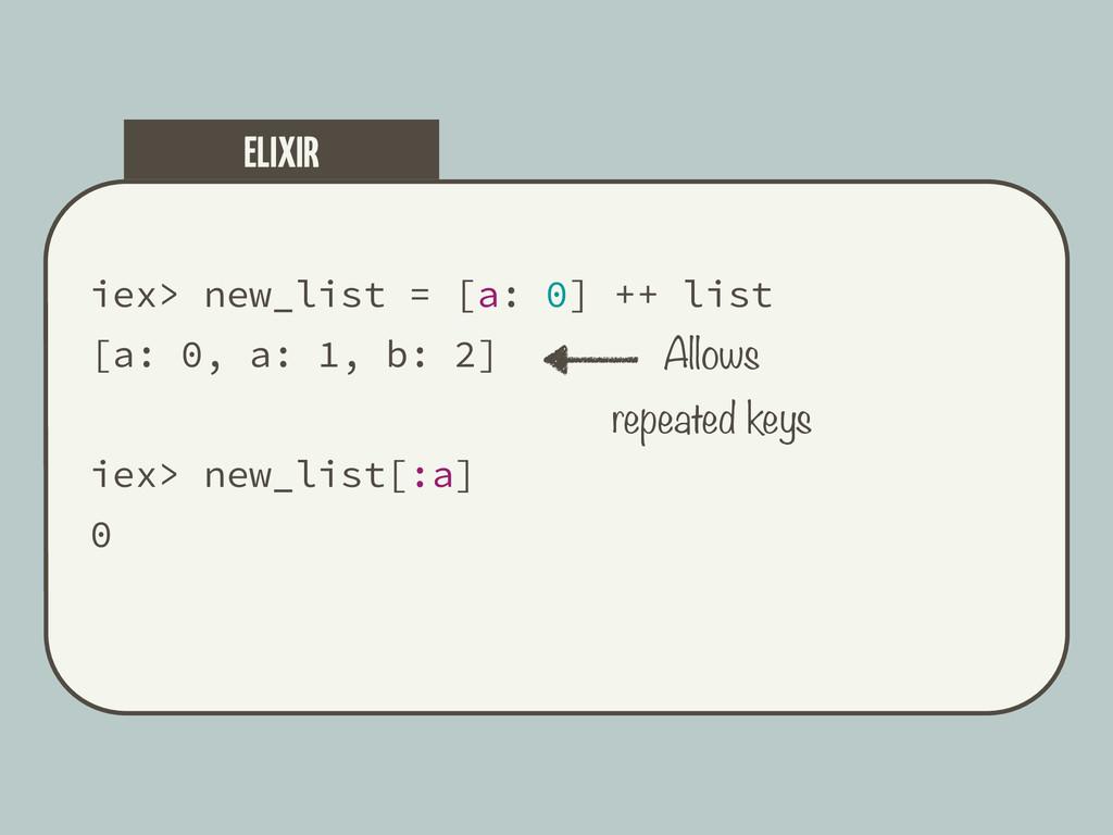 iex> new_list = [a: 0] ++ list [a: 0, a: 1, b: ...