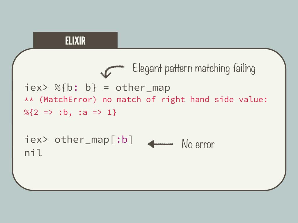 iex> %{b: b} = other_map ** (MatchError) no mat...