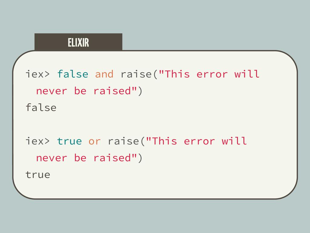 "iex> false and raise(""This error will never be ..."