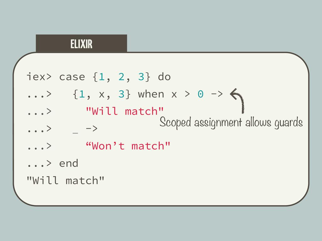 iex> case {1, 2, 3} do ...> {1, x, 3} when x > ...
