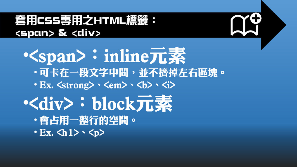 •<span>:inline元素 • 可卡在一段文字中間,並不擠掉左右區塊。 • Ex. <s...