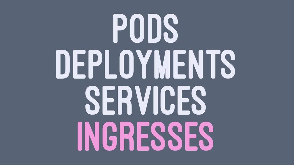 PODS DEPLOYMENTS SERVICES INGRESSES
