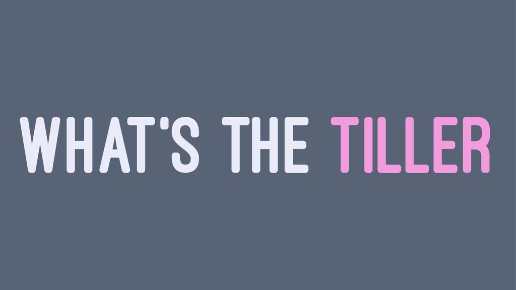 WHAT'S THE TILLER