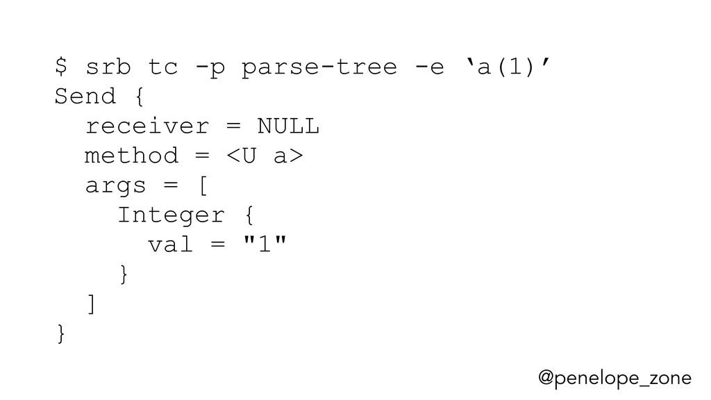 @penelope_zone $ srb tc -p parse-tree -e 'a(1)'...