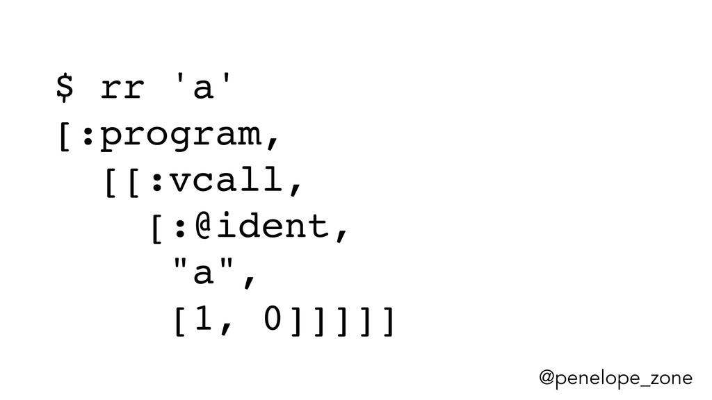 @penelope_zone $ rr 'a' [:program, [[:vcall, [:...