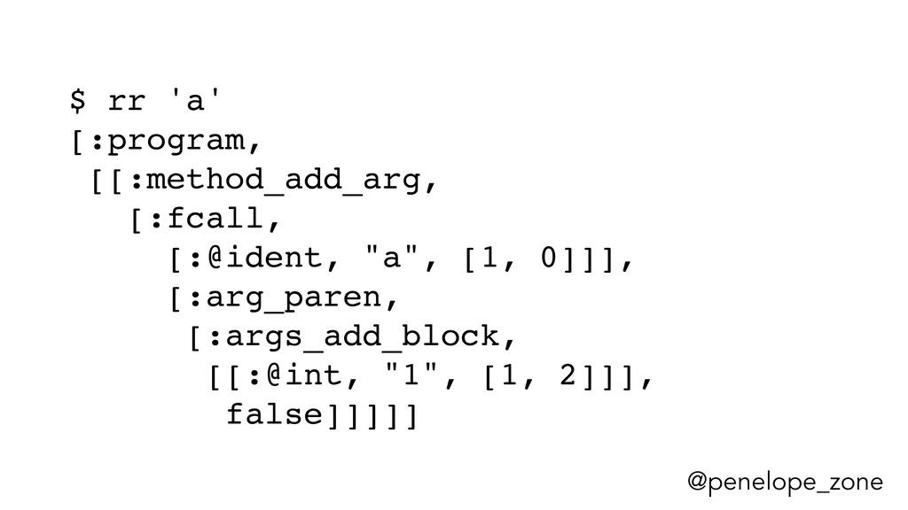 @penelope_zone $ rr 'a' [:program, [[:method_ad...